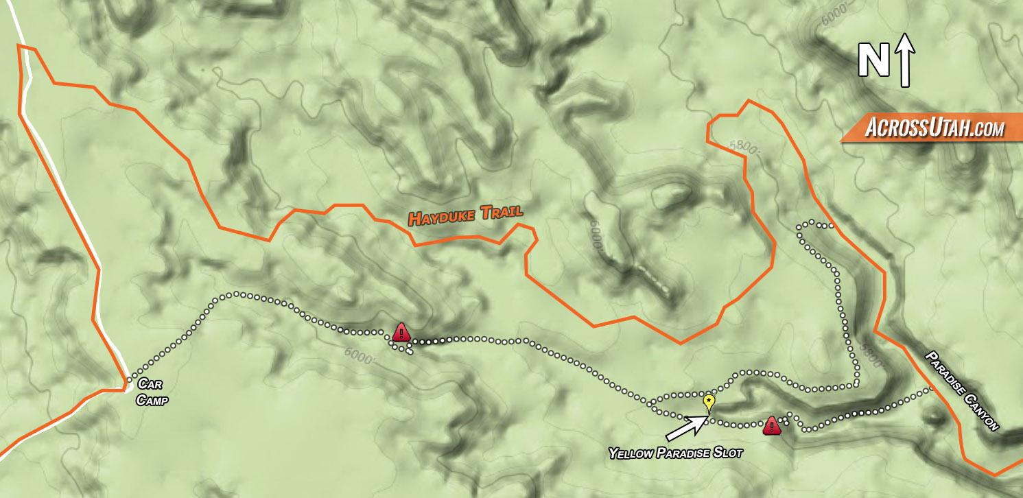 Paradise Utah Map.Hayduke Upper Paradise And Slot Across Utah