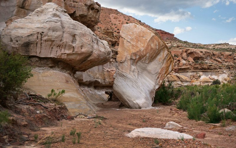 fallen boulder in Reece Canyon